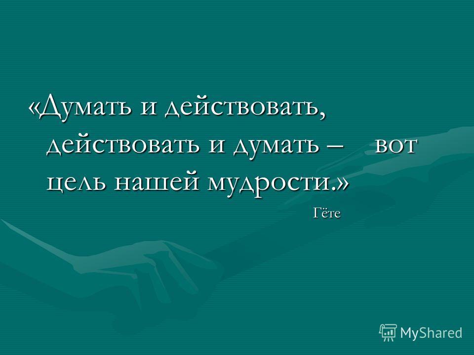 «Думать и действовать, действовать и думать – вот цель нашей мудрости.» Гёте Гёте