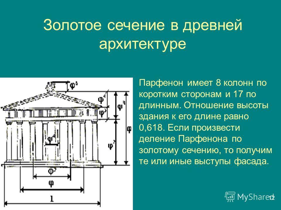 Золотое сечение в древней архитектуре 1212 Парфенон имеет 8 колонн по коротким сторонам и 17 по длинным. Отношение высоты здания к его длине равно 0,618. Если произвести деление Парфенона по золотому сечению, то получим те или иные выступы фасада.