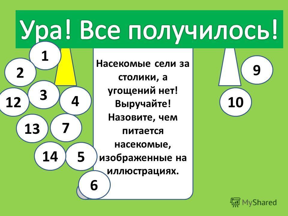 Иркутская область Из других областей Насекомые сели за столики, а угощений нет! Выручайте! Назовите, чем питается насекомые, изображенные на иллюстрациях. 5 6 13 7 4 3 1 14 12 2 10 9