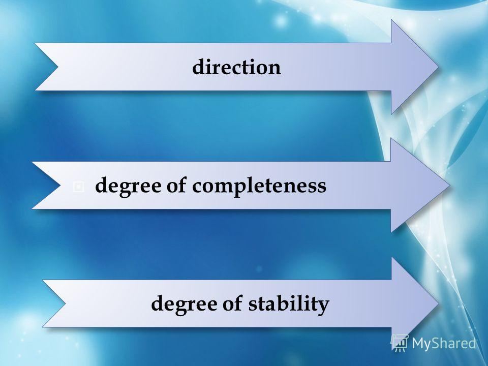 direction degree of completeness degree of stability