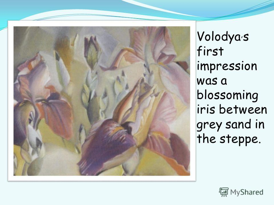 Volodya, s first impression was a blossoming iris between grey sand in the steppe.
