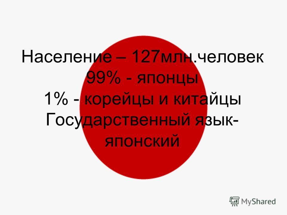 Население – 127млн.человек 99% - японцы 1% - корейцы и китайцы Государственный язык- японский