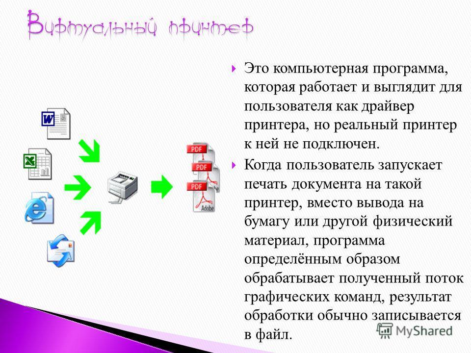 Это компьютерная программа, которая работает и выглядит для пользователя как драйвер принтера, но реальный принтер к ней не подключен. Когда пользователь запускает печать документа на такой принтер, вместо вывода на бумагу или другой физический матер