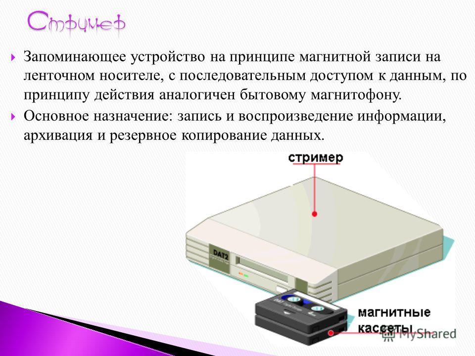 Запоминающее устройство на принципе магнитной записи на ленточном носителе, с последовательным доступом к данным, по принципу действия аналогичен бытовому магнитофону. Основное назначение: запись и воспроизведение информации, архивация и резервное ко