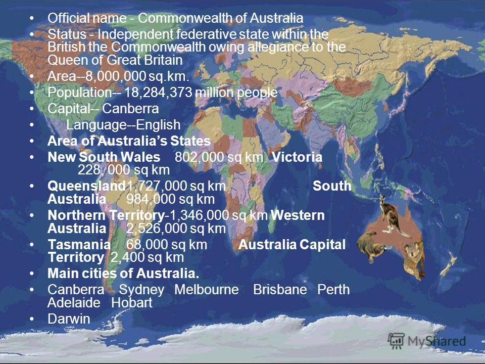 Official name - Commonwealth of Australia Status - Independent federative state within the British the Commonwealth owing allegiance to the Queen of Great Britain Area--8,000,000 sq.km. Population-- 18,284,373 million people Capital-- Canberra Langua