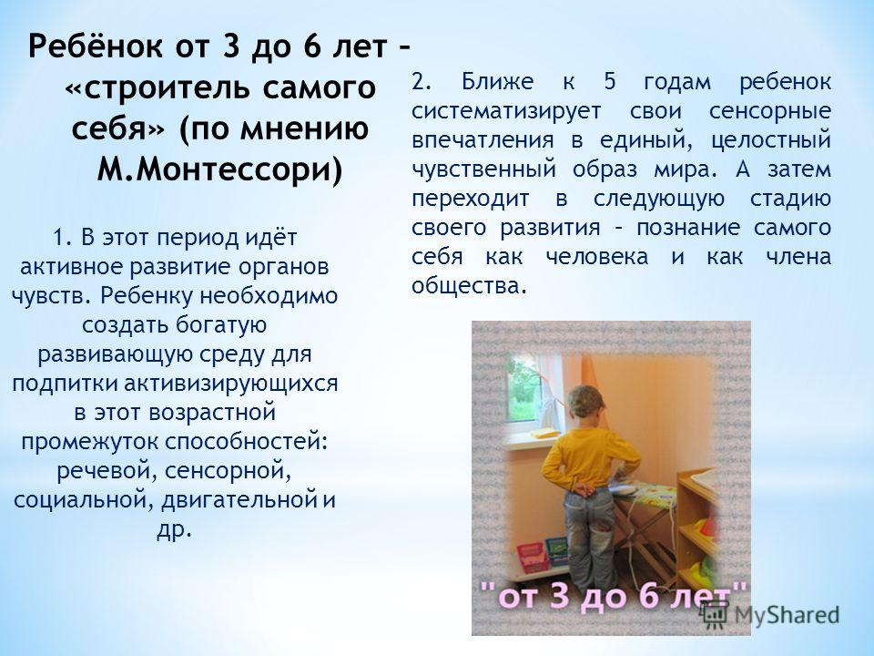 1. В этот период идёт активное развитие органов чувств. Ребенку необходимо создать богатую развивающую среду для подпитки активизирующихся в этот возрастной промежуток способностей: речевой, сенсорной, социальной, двигательной и др. Ребёнок от 3 до 6