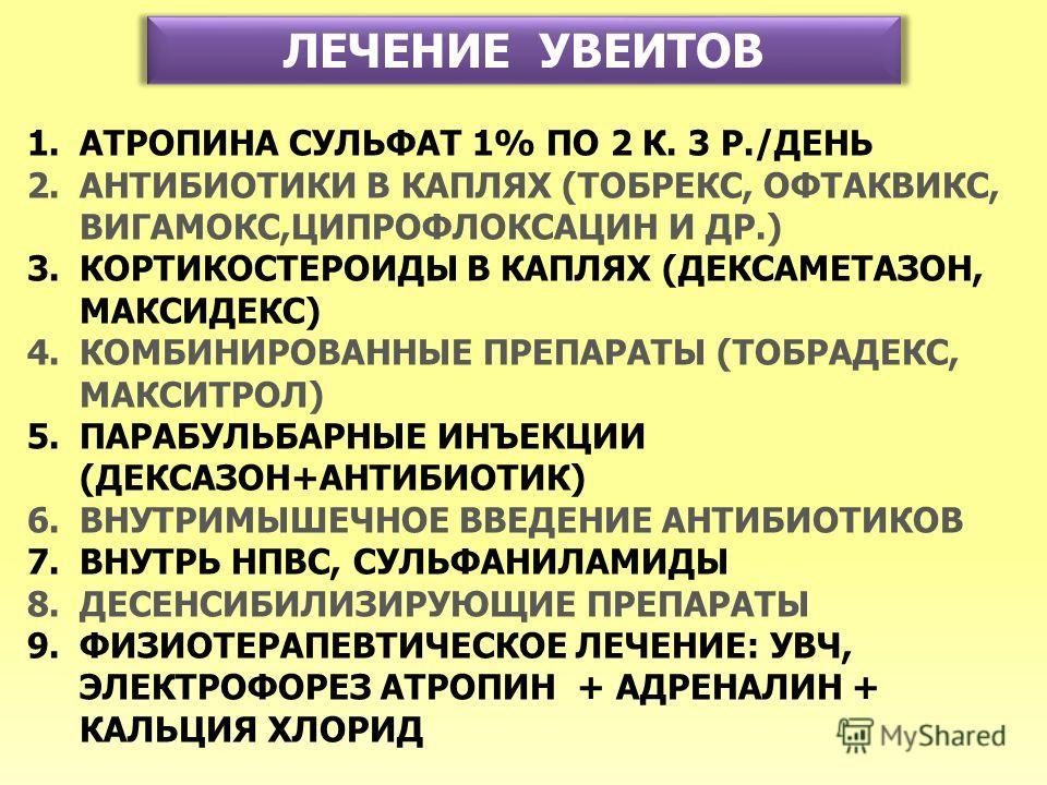 ЛЕЧЕНИЕ УВЕИТОВ 1.АТРОПИНА СУЛЬФАТ 1% ПО 2 К. 3 Р./ДЕНЬ 2.АНТИБИОТИКИ В КАПЛЯХ (ТОБРЕКС, ОФТАКВИКС, ВИГАМОКС,ЦИПРОФЛОКСАЦИН И ДР.) 3.КОРТИКОСТЕРОИДЫ В КАПЛЯХ (ДЕКСАМЕТАЗОН, МАКСИДЕКС) 4.КОМБИНИРОВАННЫЕ ПРЕПАРАТЫ (ТОБРАДЕКС, МАКСИТРОЛ) 5.ПАРАБУЛЬБАРНЫ