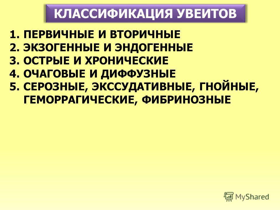 КЛАССИФИКАЦИЯ УВЕИТОВ 1.ПЕРВИЧНЫЕ И ВТОРИЧНЫЕ 2.ЭКЗОГЕННЫЕ И ЭНДОГЕННЫЕ 3.ОСТРЫЕ И ХРОНИЧЕСКИЕ 4.ОЧАГОВЫЕ И ДИФФУЗНЫЕ 5.СЕРОЗНЫЕ, ЭКССУДАТИВНЫЕ, ГНОЙНЫЕ, ГЕМОРРАГИЧЕСКИЕ, ФИБРИНОЗНЫЕ