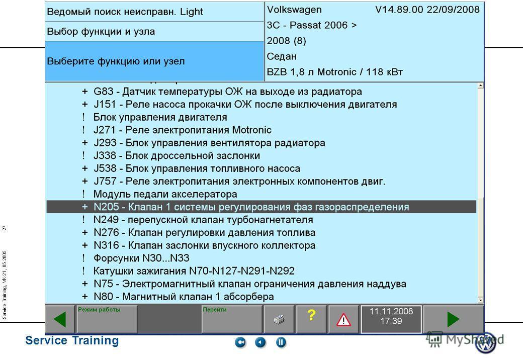 27 Service Training Service Training, VK-21, 05.2005 Изменение фаз газораспределения