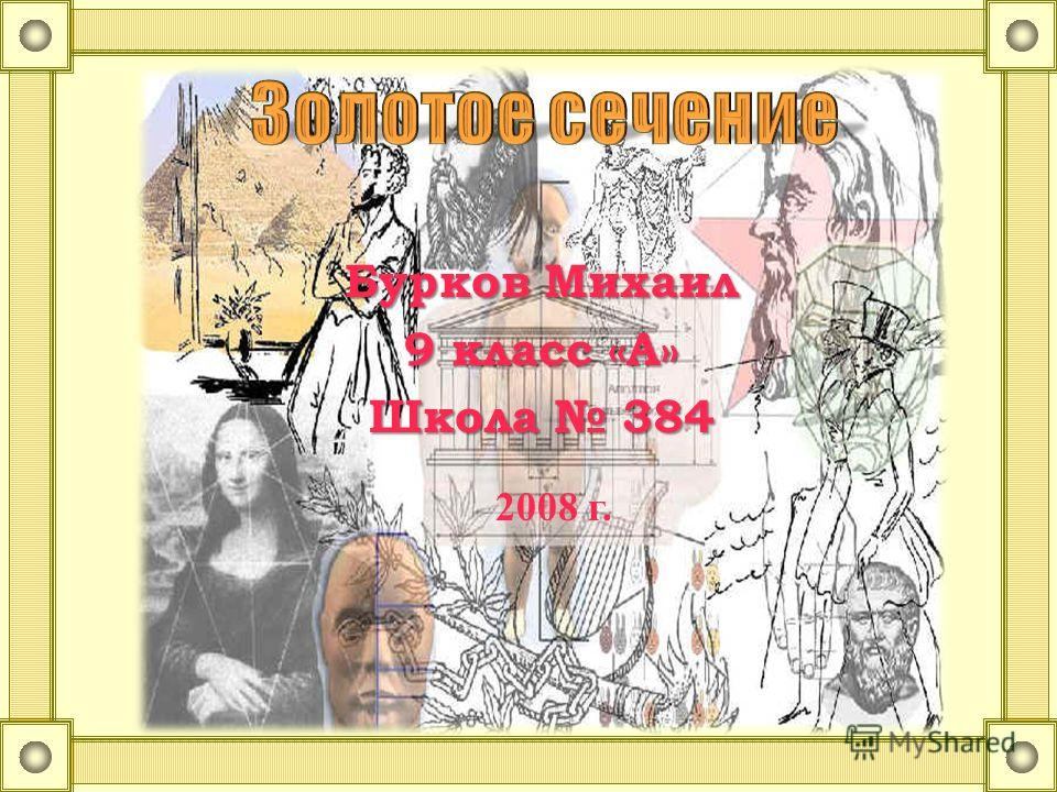 Бурков Михаил 9 класс «А» Школа 384 2008 г.
