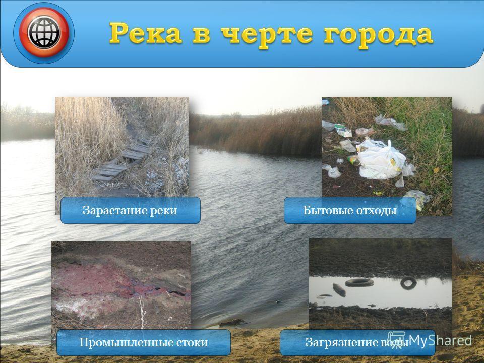 Зарастание реки Промышленные стокиЗагрязнение воды Бытовые отходы