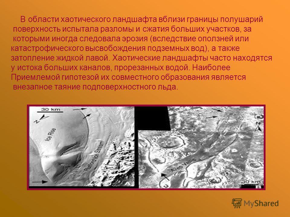 В области хаотического ландшафта вблизи границы полушарий поверхность испытала разломы и сжатия больших участков, за которыми иногда следовала эрозия (вследствие оползней или катастрофического высвобождения подземных вод), а также затопление жидкой л