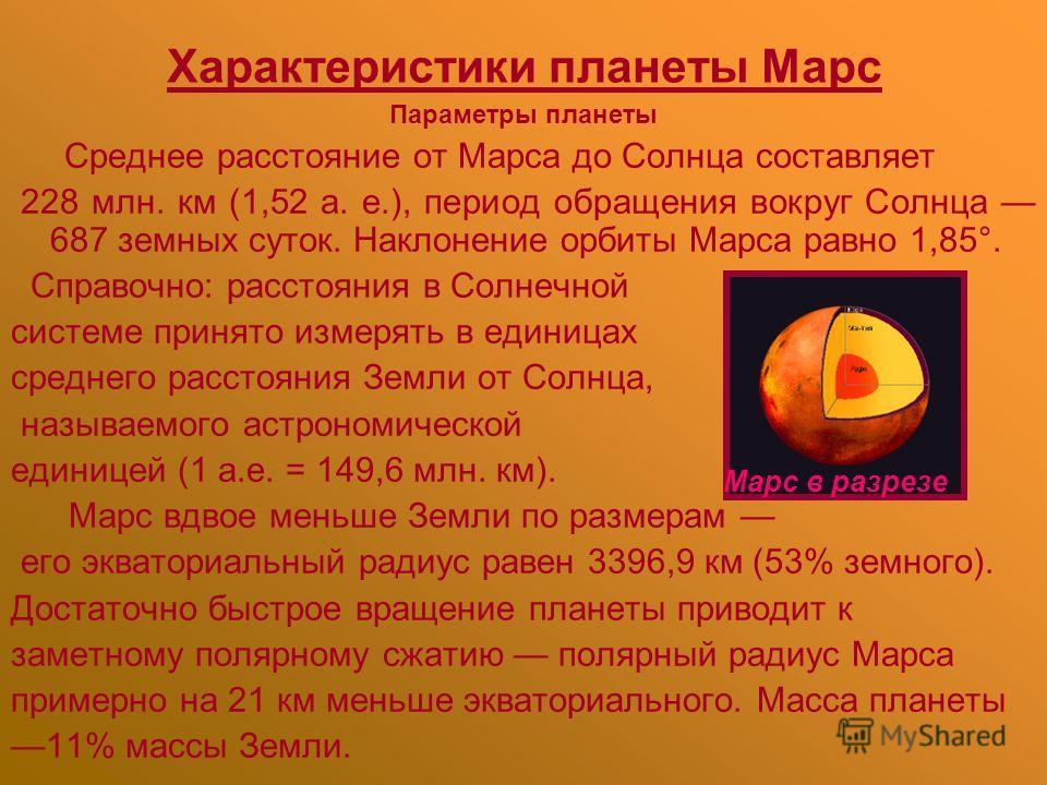 Характеристики планеты Марс Параметры планеты Среднее расстояние от Марса до Солнца составляет 228 млн. км (1,52 а. е.), период обращения вокруг Солнца 687 земных суток. Наклонение орбиты Марса равно 1,85°. Справочно: расстояния в Солнечной системе п