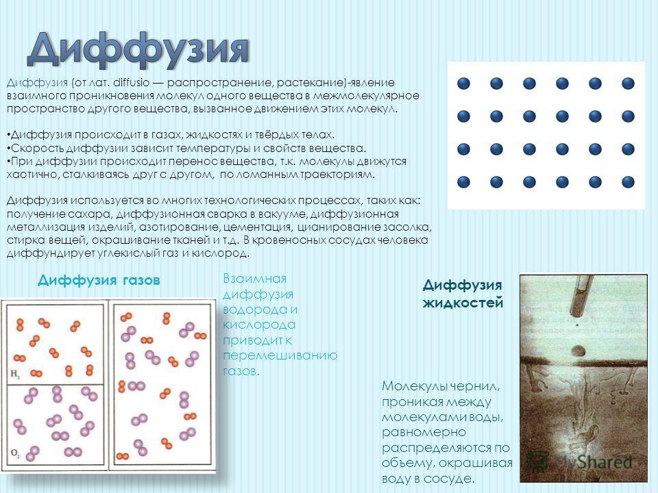 Диффузия (от лат. diffusio распространение, растекание)-явление взаимного проникновения молекул одного вещества в межмолекулярное пространство другого вещества, вызванное движением этих молекул. Диффузия происходит в газах, жидкостях и твёрдых телах.