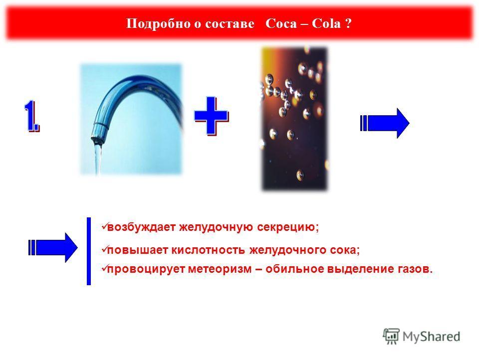 Подробно о составе Coca – Cola ? возбуждает желудочную секрецию; повышает кислотность желудочного сока; провоцирует метеоризм – обильное выделение газов.