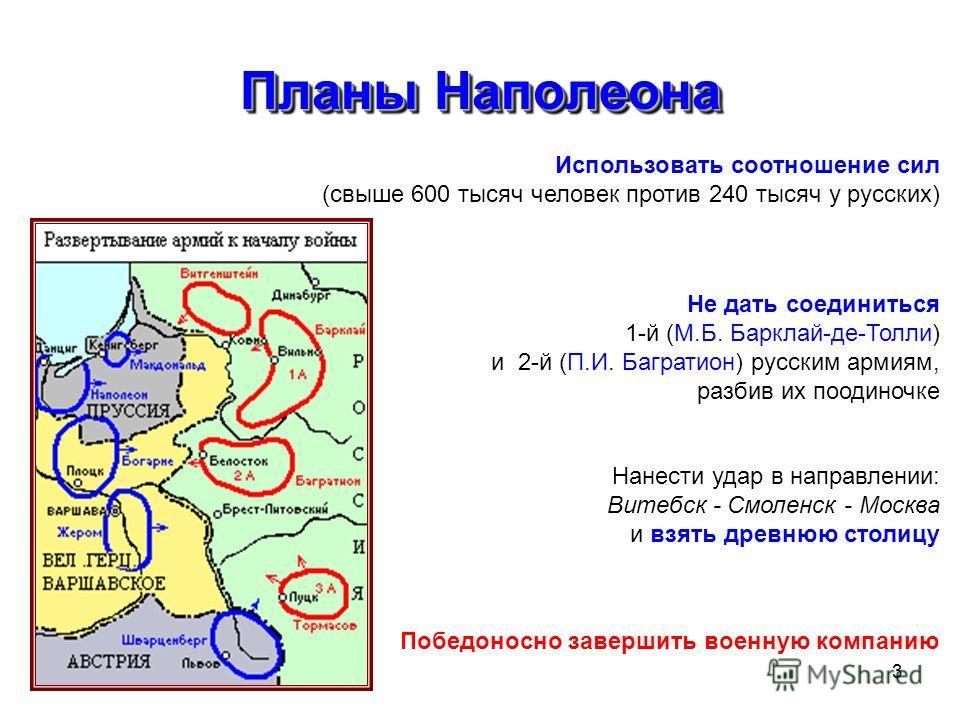 3 Планы Наполеона Использовать соотношение сил (свыше 600 тысяч человек против 240 тысяч у русских) Не дать соединиться 1-й (М.Б. Барклай-де-Толли) и 2-й (П.И. Багратион) русским армиям, разбив их поодиночке Нанести удар в направлении: Витебск - Смол