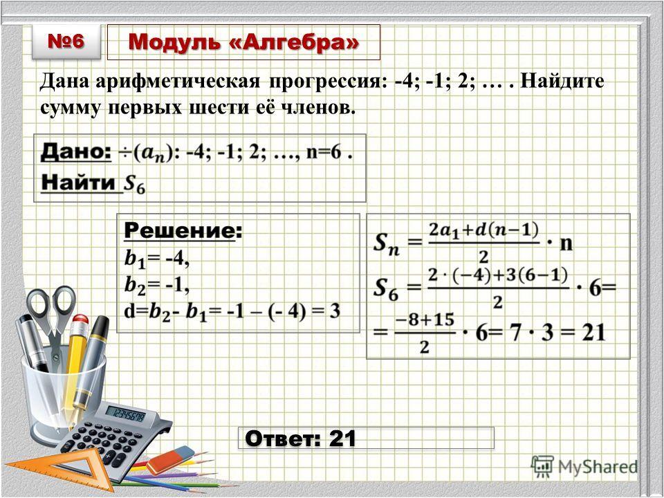 Модуль «Алгебра» Дана арифметическая прогрессия: -4; -1; 2; …. Найдите сумму первых шести её членов.