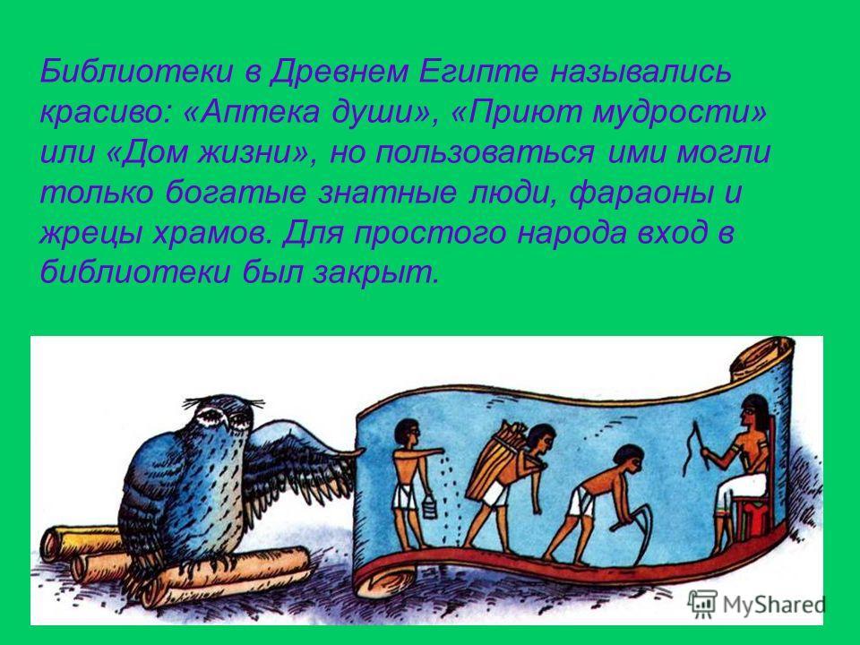 Библиотеки в Древнем Египте назывались красиво: «Аптека души», «Приют мудрости» или «Дом жизни», но пользоваться ими могли только богатые знатные люди, фараоны и жрецы храмов. Для простого народа вход в библиотеки был закрыт.