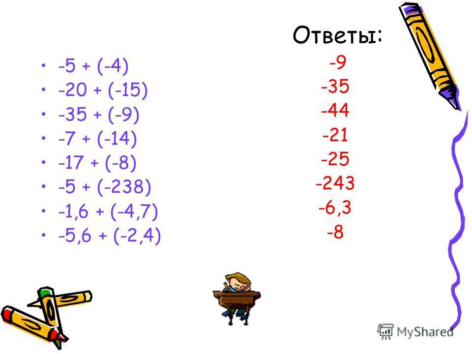 Вычислите устно: -100 + (-80) = ? -1,5 + (-4,5) = ? -6,3 + (-1,7) = ? -3/4 + (-1/4) = ? -135 + (-267) = ? -2/3 + (-5/6) = ?