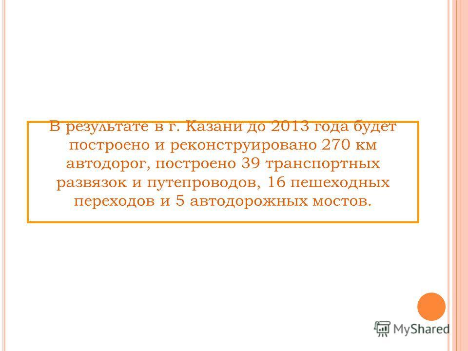В результате в г. Казани до 2013 года будет построено и реконструировано 270 км автодорог, построено 39 транспортных развязок и путепроводов, 16 пешеходных переходов и 5 автодорожных мостов.