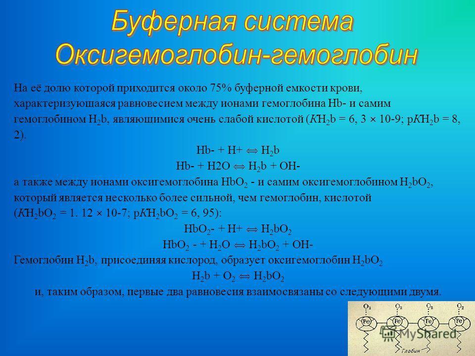 На её долю которой приходится около 75% буферной емкости крови, характеризующаяся равновесием между ионами гемоглобина Hb- и самим гемоглобином H 2 b, являющимися очень слабой кислотой (КH 2 b = 6, 3 10-9; рКH 2 b = 8, 2). Hb- + Н+ H 2 b Hb- + Н2О H