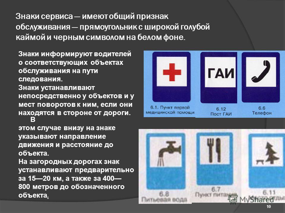 Знаки сервиса имеют общий признак обслуживания прямоугольник с широкой голубой каймой и черным символом на белом фоне. Знаки информируют водителей о соответствующих объектах обслуживания на пути следования. Знаки устанавливают непосредственно у объек