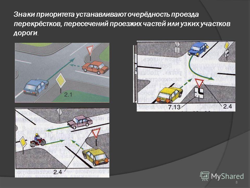 Знаки приоритета устанавливают очерёдность проезда перекрёстков, пересечений проезжих частей или узких участков дороги. 8