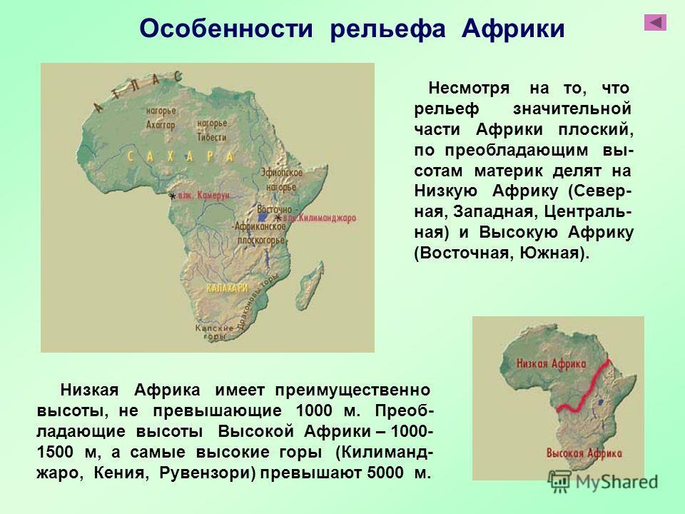 Низкая Африка имеет преимущественно высоты, не превышающие 1000 м. Преоб- ладающие высоты Высокой Африки – 1000- 1500 м, а самые высокие горы (Килиманд- жаро, Кения, Рувензори) превышают 5000 м. Несмотря на то, что рельеф значительной части Африки пл