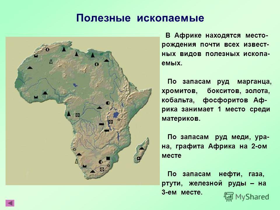 Полезные ископаемые В Африке находятся место- рождения почти всех извест- ных видов полезных ископа- емых. По запасам руд марганца, хромитов, бокситов, золота, кобальта, фосфоритов Аф- рика занимает 1 место среди материков. По запасам руд меди, ура-