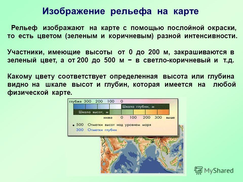 Рельеф изображают на карте с помощью послойной окраски, то есть цветом (зеленым и коричневым) разной интенсивности. Участники, имеющие высоты от 0 до 200 м, закрашиваются в зеленый цвет, а от 200 до 500 м в светло-коричневый и т.д. Какому цвету соотв