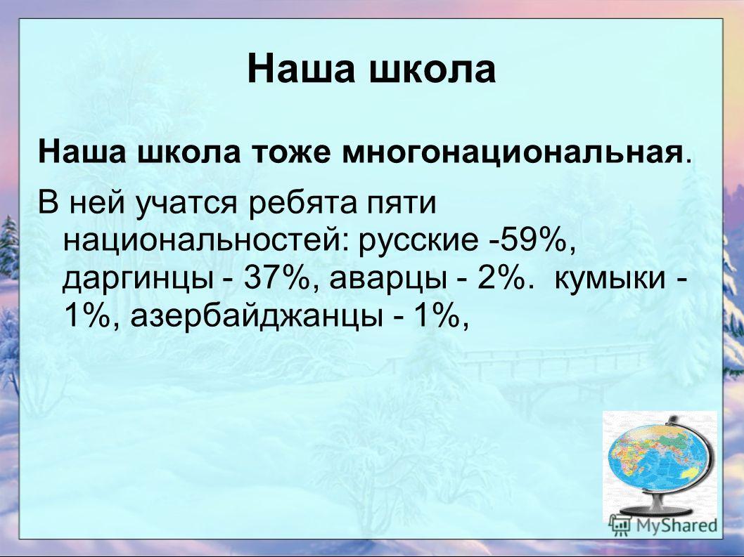 Наша школа Наша школа тоже многонациональная. В ней учатся ребята пяти национальностей: русские -59%, даргинцы - 37%, аварцы - 2%. кумыки - 1%, азербайджанцы - 1%,