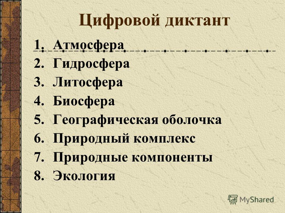 Цифровой диктант 1.Атмосфера 2.Гидросфера 3.Литосфера 4.Биосфера 5.Географическая оболочка 6.Природный комплекс 7.Природные компоненты 8.Экология