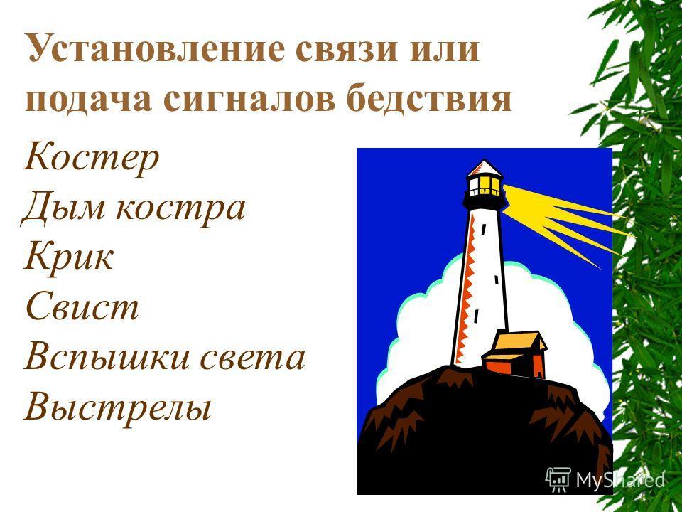 Установление связи или подача сигналов бедствия Костер Дым костра Крик Свист Вспышки света Выстрелы