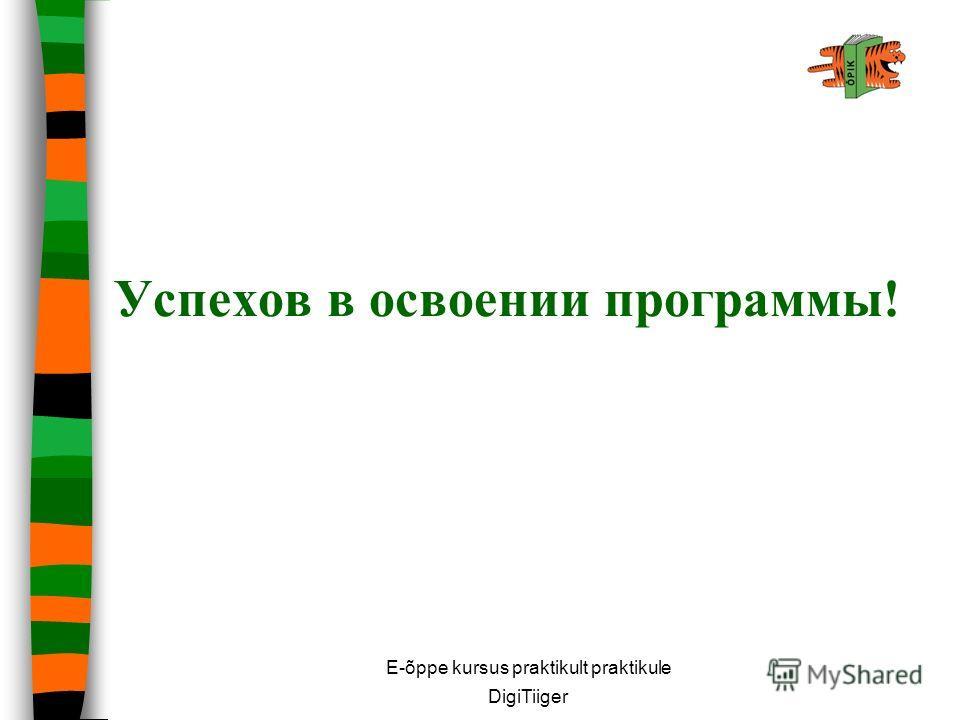 E-õppe kursus praktikult praktikule DigiTiiger Успехов в освоении программы!