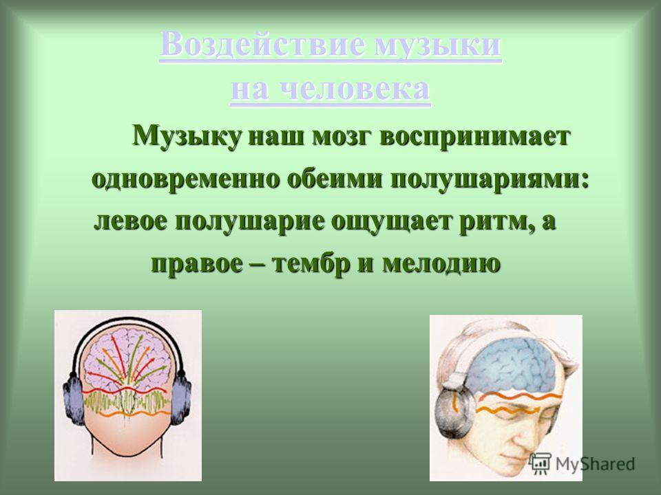 Воздействие музыки на человека Воздействие музыки на человека Музыку наш мозг воспринимает Музыку наш мозг воспринимает одновременно обеими полушариями: одновременно обеими полушариями: левое полушарие ощущает ритм, а правое – тембр и мелодию