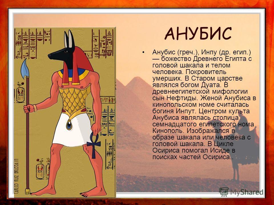 Анубис (греч.), Инпу (др. егип.) божество Древнего Египта с головой шакала и телом человека. Покровитель умерших. В Старом царстве являлся богом Дуата. В древнеегипетской мифологии сын Нефтиды. Женой Анубиса в кинопольском номе считалась богиня Инпут
