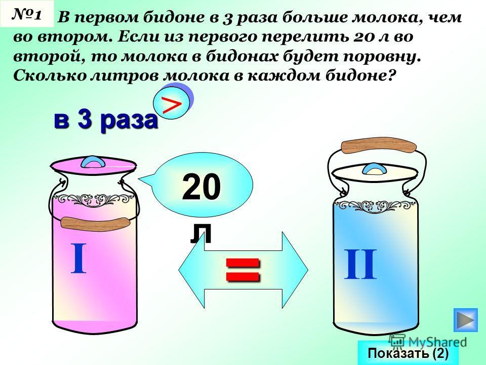 В первом бидоне в 3 раза больше молока, чем во втором. Если из первого перелить 20 л во второй, то молока в бидонах будет поровну. Сколько литров молока в каждом бидоне? I II > > в 3 раза 20 л = Показать (2) 1