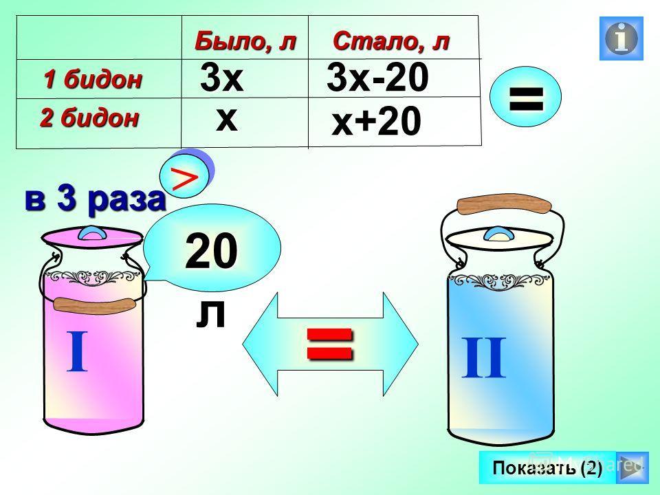 I II > > в 3 раза 20 л =х 3х3х-20 х+20 Было, л 1 бидон 2 бидон Стало, л = Показать (2)