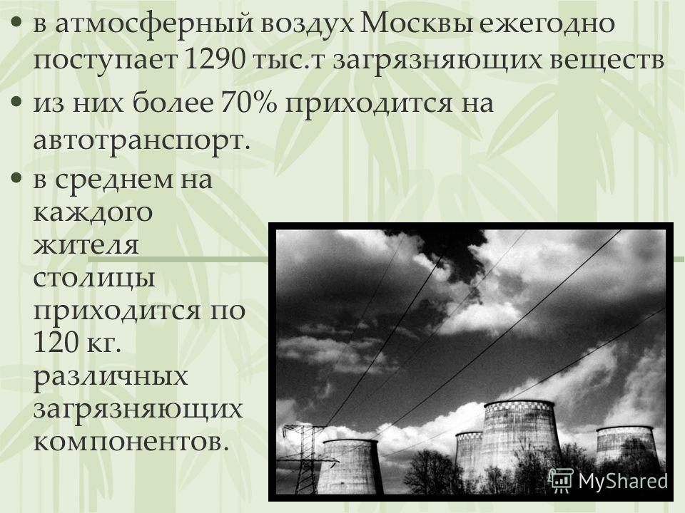 в атмосферный воздух Москвы ежегодно поступает 1290 тыс.т загрязняющих веществ из них более 70% приходится на автотранспорт. в среднем на каждого жителя столицы приходится по 120 кг. различных загрязняющих компонентов.