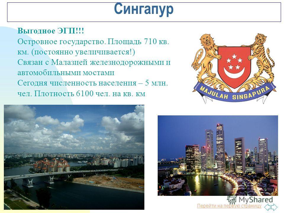 Перейти на первую страницу Сингапур Выгодное ЭГП!!! Островное государство. Площадь 710 кв. км. (постоянно увеличивается!) Связан с Малазией железнодорожными и автомобильными мостами Сегодня численность населения – 5 млн. чел. Плотность 6100 чел. на к