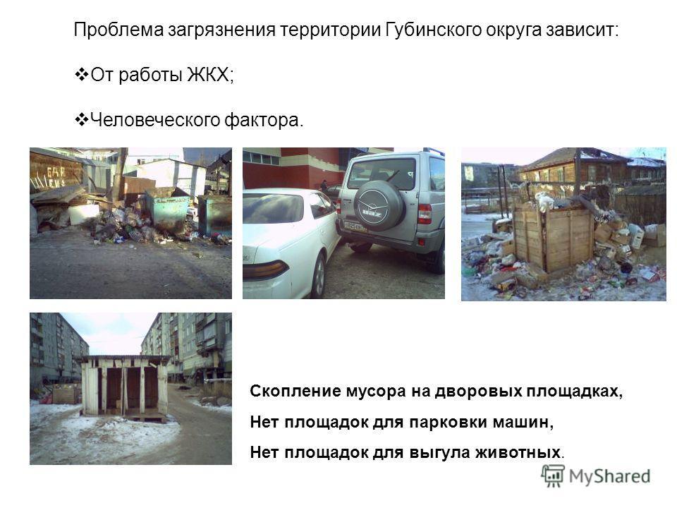 Проблема загрязнения территории Губинского округа зависит: От работы ЖКХ; Человеческого фактора. Скопление мусора на дворовых площадках, Нет площадок для парковки машин, Нет площадок для выгула животных.