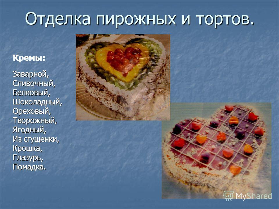 Отделка пирожных и тортов. Заварной, Сливочный, Белковый, Шоколадный, Ореховый, Творожный, Ягодный, Из сгущенки, Крошка, Глазурь, Помадка. Кремы: