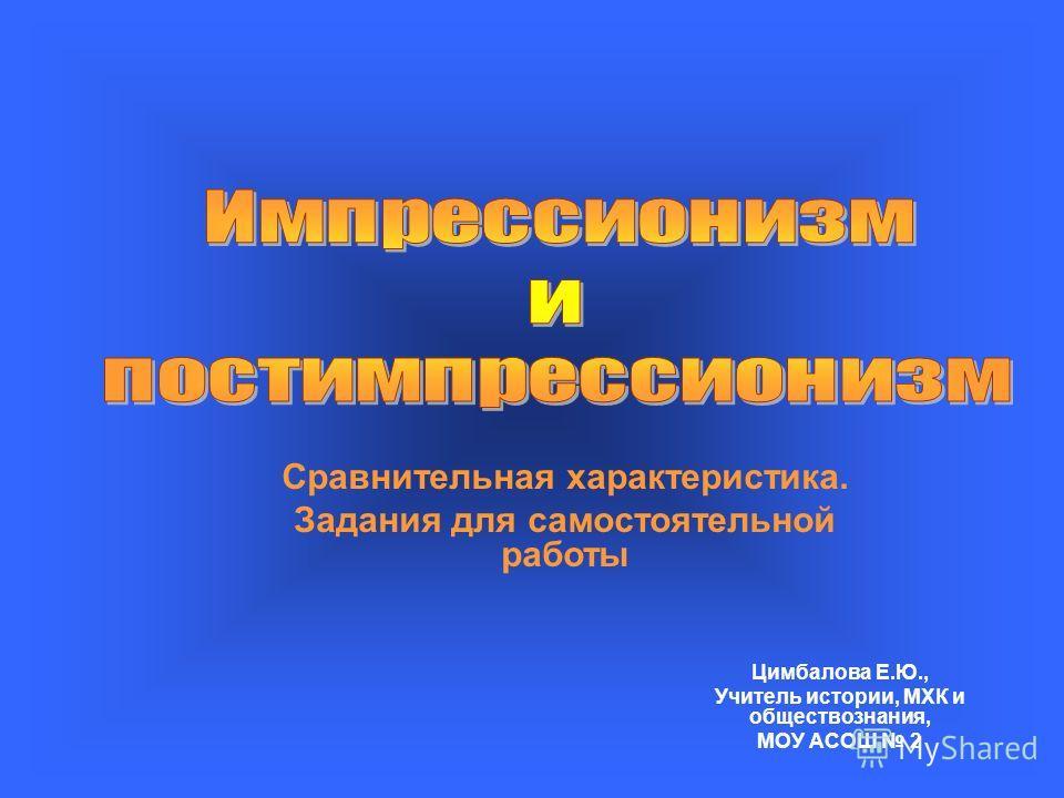 Цимбалова Е.Ю., Учитель истории, МХК и обществознания, МОУ АСОШ 2 Сравнительная характеристика. Задания для самостоятельной работы