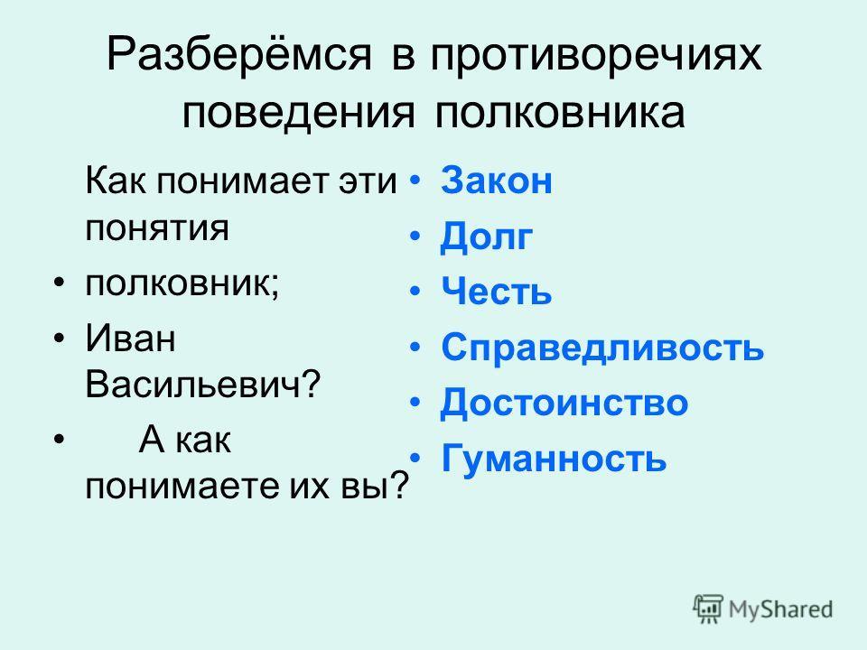 Разберёмся в противоречиях поведения полковника Как понимает эти понятия полковник; Иван Васильевич? А как понимаете их вы? Закон Долг Честь Справедливость Достоинство Гуманность