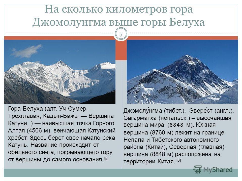 На сколько километров гора Джомолунгма выше горы Белуха 5 Гора Белу́ха (алт. Уч-Сумер Трехглавая, Кадын-Бажы Вершина Катуни, ) наивысшая точка Горного Алтая (4506 м), венчающая Катунский хребет. Здесь берёт своё начало река Катунь. Название происходи