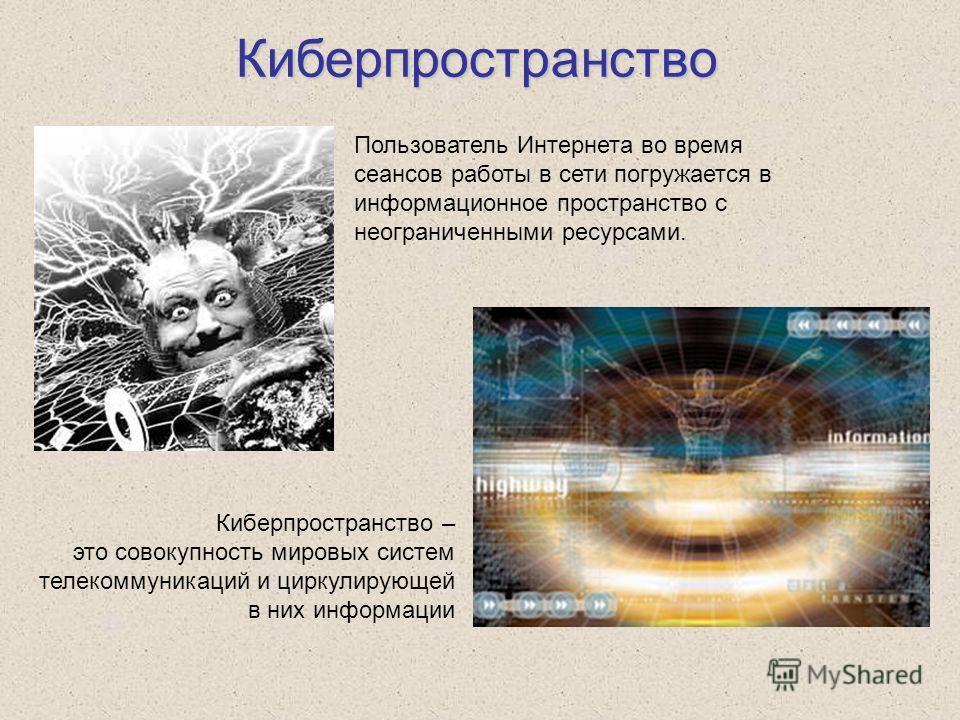 Киберпространство Киберпространство – это совокупность мировых систем телекоммуникаций и циркулирующей в них информации Пользователь Интернета во время сеансов работы в сети погружается в информационное пространство с неограниченными ресурсами.
