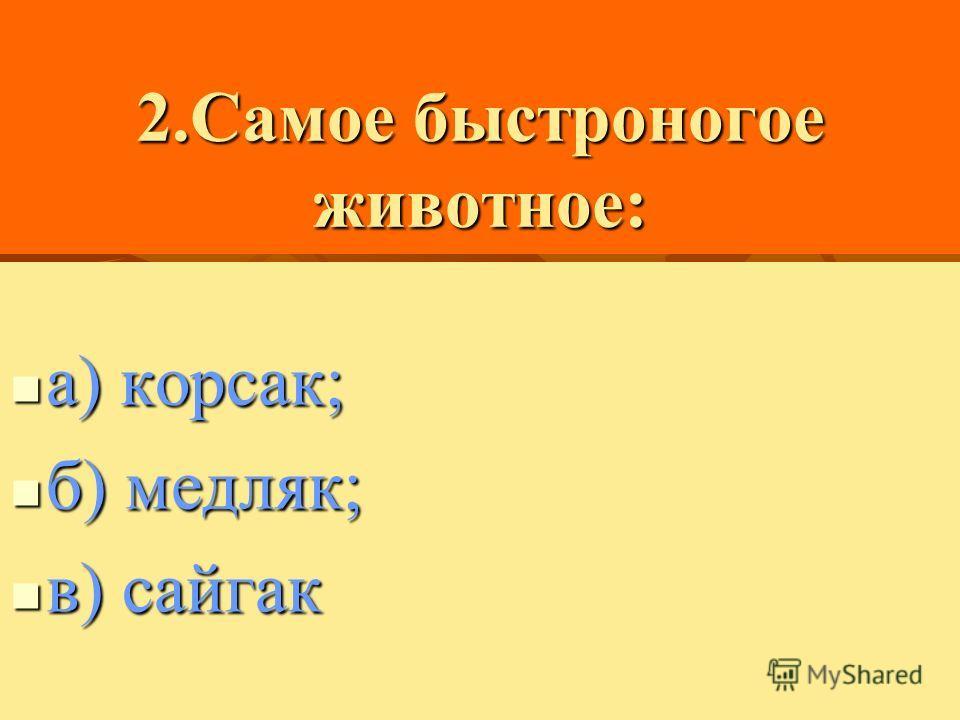 2.Самое быстроногое животное: а) корсак; б) медляк; в) сайгак
