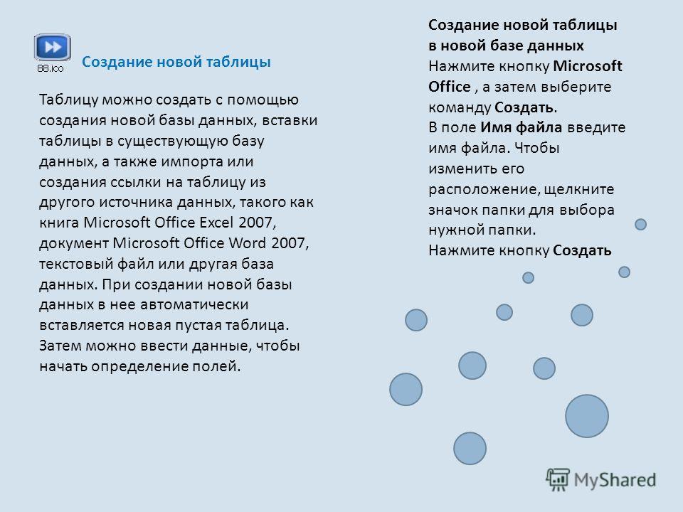 Создание новой таблицы Таблицу можно создать с помощью создания новой базы данных, вставки таблицы в существующую базу данных, а также импорта или создания ссылки на таблицу из другого источника данных, такого как книга Microsoft Office Excel 2007, д