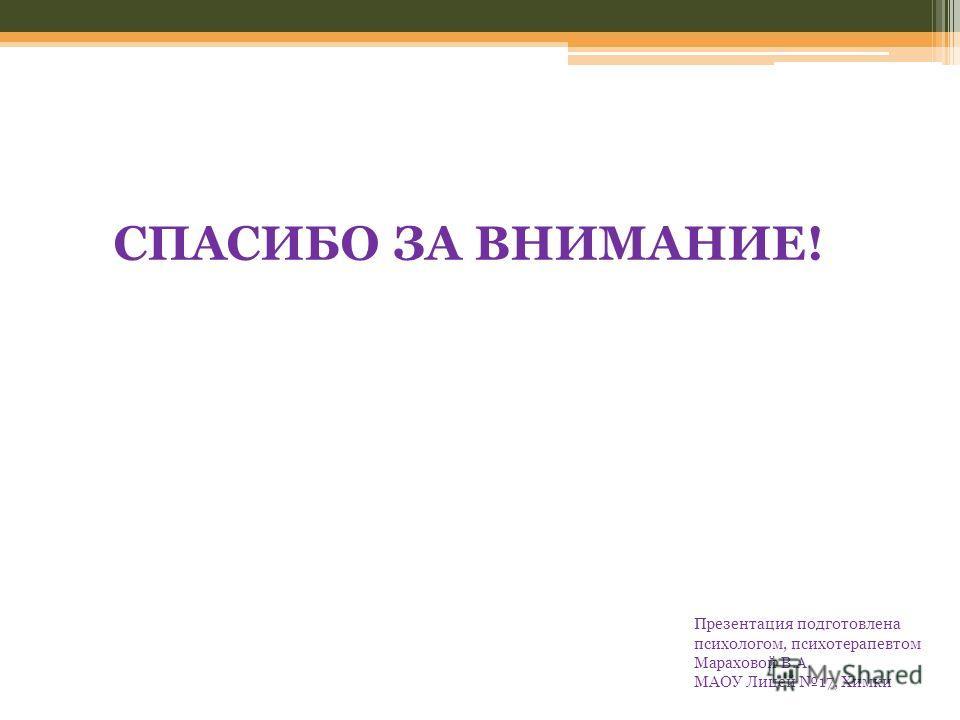 Презентация подготовлена психологом, психотерапевтом Мараховой В.А. МАОУ Лицей 17, Химки СПАСИБО ЗА ВНИМАНИЕ!