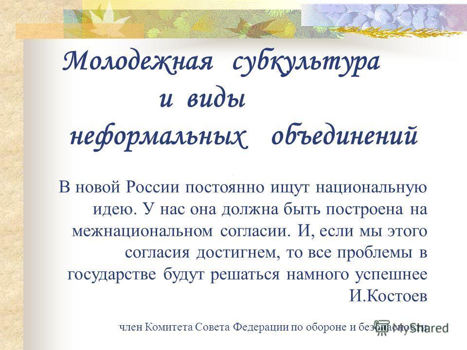 Молодежная субкультура и виды неформальных объединений В новой России постоянно ищут национальную идею. У нас она должна быть построена на межнациональном согласии. И, если мы этого согласия достигнем, то все проблемы в государстве будут решаться нам